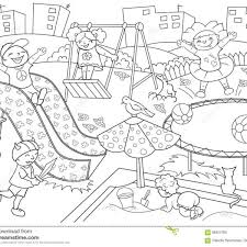 Childrens Playground Coloring Vector Illustration Of Black And Inside Children Clipart White