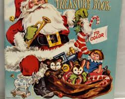 VTG 1950 60s Santas Treasure Book To Color Compliments Of Walgreen New Old Stock