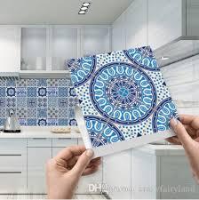 großhandel mosaik fliesen aufkleber selbstklebend blau und weiß porzellan wandkunst wasserdicht fliesen aufkleber küche badezimmer möbel dekoration