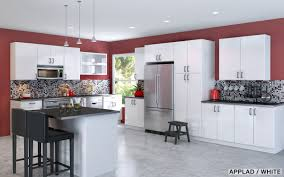 Modern Ikea Kitchen Design With White Wooden Wall Cabinets And Drawers Island Black