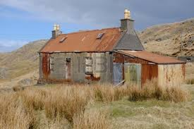 Tin Shed Highland Il by An Old Derelict Building On Moorland With Tin Corrugated Roof