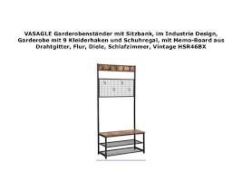 vasagle garderobenst nder mit sitzbank im industrie design