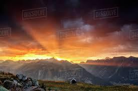 100 Muottas Muragl Rays Of Sun Of Fiery Sky At Sunset Above The Peaks