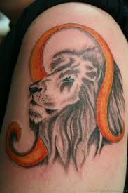 Lion Head With Leo Symbol Tattoo Design For Shoulder