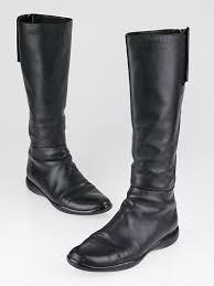 prada black leather knee high boots size 5 5 36 yoogi u0027s closet