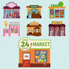 Vector flat design restaurant shops facade storefront market building architecture showcase window illustration Archivio Fotografico