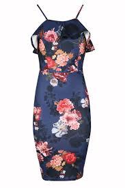 womens floral midi dress ladies cami strap ruffle frill pencil