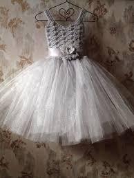 Grey Flower Girl Tutu Dress
