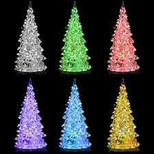 Mini Store White Pine Tree Small Christmas Mood Lamp LED Lights 7 Color Changing