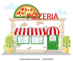 Facade Pizzeria With A Signboard Awning And Silhouettes People In Shopwindow Image