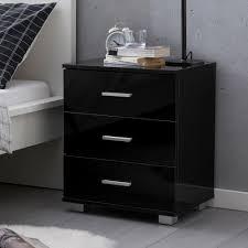 wohnling design nachtkonsole wl5 867 schwarz 45x54x34cm holz nachttisch hochglanz modernes nachtkästchen mit aufbewahrung kleine