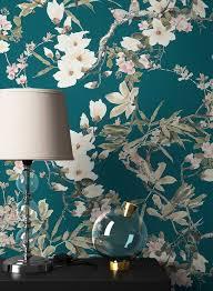 newroom vliestapete blumentapete blau wallpaper floral blumen tapete pflanzen wohnzimmer schlafzimmer büro flur kaufen otto