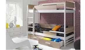 lit superposé 2 couchages en bois chêne et blanc quadro