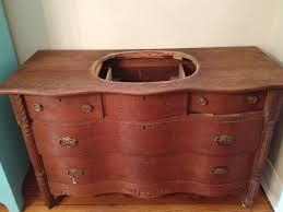 Vintage Tiger Oak Dresser by Dresser Turned Bathroom Vanity U2013