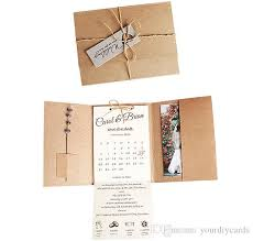 New Pocket Fold Invitation Rustic Wedding Cards Printed Invitations Card