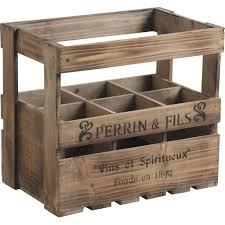 caisse a vin en bois caisse à vin 6 bouteilles en bois 33x21x29cm bois vieilli aubry