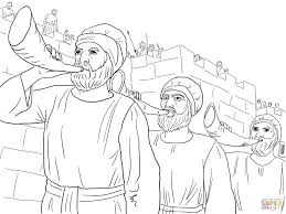 Click The Joshua Army Marching Around Jericho Blowing Trumpets Coloring Pages