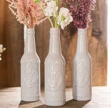 Rustic Shabby Chic Ceramic Vase Bottle With Lavender Motif Wedding LavenderDiy