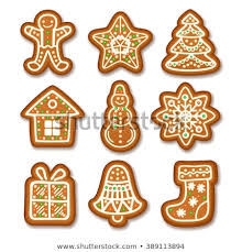 Set Of Gingerbread Christmas Cookies Decorated Icing Holiday Cookie In Shape Xmas Tree