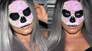 Halloween Half Mask Makeup by Halloween Tutorial Glam Sequin Skull Makeup Candied Makeup Youtube