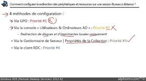 installer bureau à distance tuto rds 2012 r2 redirection des ressources locales sur une