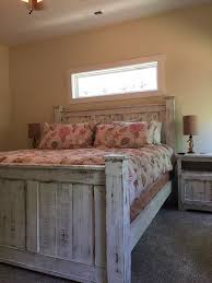 Rustic Queen Size Bedroom Set Bed Dresser And Two Bedside Tables