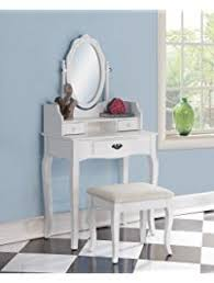 Roundhill Furniture Ribbon Wood Make Up Vanity Table And Stool Set White