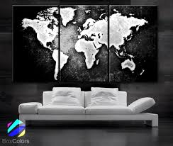LARGE 3 Panels Art Canvas Print World Map Black White Contrast Wall Home Office Decor Interior Included Framed Depth