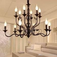 Vestibule 10 Black Rustic Candle Chandeliers For Dining Room Portico Wrought Iron Chandelier Foyer Kitchen Led Candelabro Birds