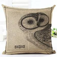 Owl Design Rustic Decorative Pillow Case Cover 45cm X