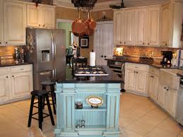 French Country Kitchen With Rustic Blue Island The Robinegg And Cabinets