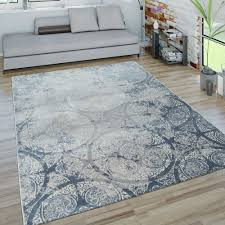 kurzflor teppich ornamente blau grau