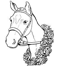 Horse With Roses Coloring Page