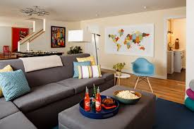 Colorful World Maps And Modern Corner Grey Sofa Sets In Small Living Room Design Ideas