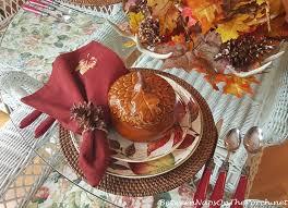 Pumpkin Soup Tureen And Bowls by Autumn Table Setting With Roasted Pumpkin Soup
