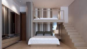 Elegant Kid Bedrooms With Bunkbed And Padded Wall Cushion In Stripes Modern Bedroom