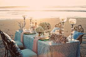 Blue Wedding Reception Table Setting On The Beach