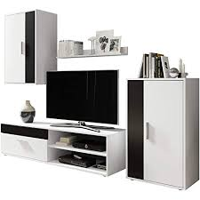 wohnwand berno schrankwand anbauwand wohnzimmerschrank mediawand hängevitrine wandregal tv lowboard kommode weiß weiß schwarz