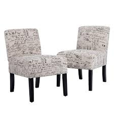 Accent Dining Chair Club Side Upholstered Letter Print Fabric Armless  Living Room Chairs - 2 Chairs