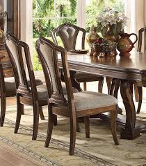 100 Oak Pedestal Table And Chairs Acme Furniture 66170 Valletta Latte Dining Room Set