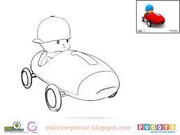 Colorear Pintar Pocoyo En Auto Para Colorear