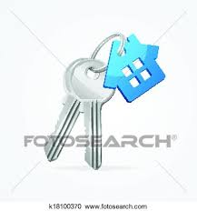 Clipart Of House Keys With Blue Key Chain K18100370