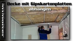 decke mit gipskartonplatten abhängen anleitung
