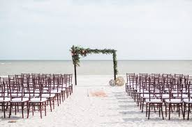 Beach Ceremony Brown Chilvari Chair Greenery Altar Decor Our Wedding 8191