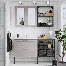 enhet tvällen badezimmer set 15 tlg grau rahmen anthrazit lillsvan mischbatterie 142x43x87 cm