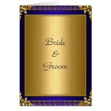 Wedding Card Invitation Gold Royal Blue