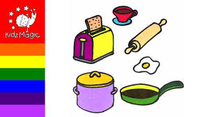 How To Draw Kitchen Appliances Coloring Pages For Kids