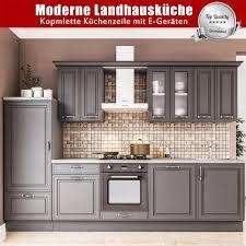 moderne landhausküche linnea küchenzeile 3m komplettküche mit e geräten