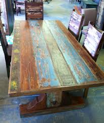 84 Table With Weathered Paint Finishes On The Reclaimed Barn Wood Used To Craft It