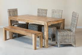 Details About RATTAN/WICKER & SOLID LIGHT MANGO DINING TABLE/CHAIRS/BENCH  SET NEW